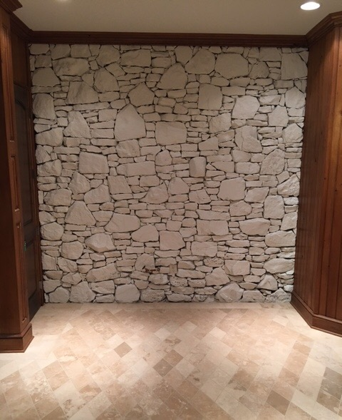 Interior Painting Project Of A Basement Foyer Stone Wall